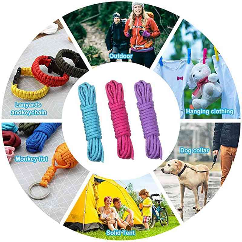 Paracord For Survival, Parachute Cord, Lanyard Camping, Climbing, Rope Hiking, Clothesline