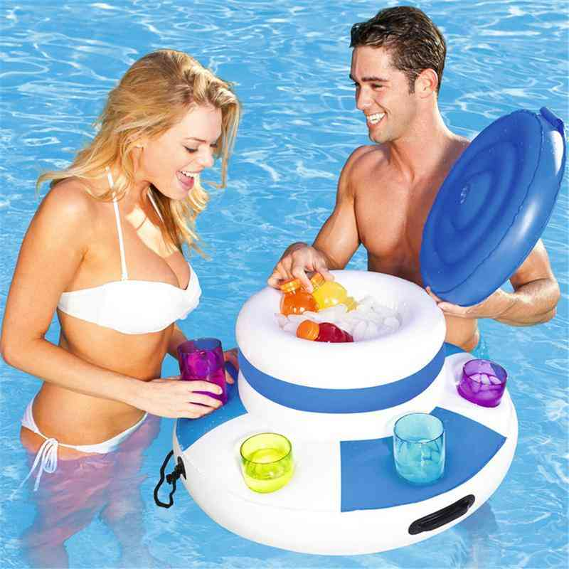 Summer Water Sports Inflatable Fun Air Mattress Ice Bucket Cooler 6 Cup Holder Inflatable Beer Drink Holder Pool Floats Toy