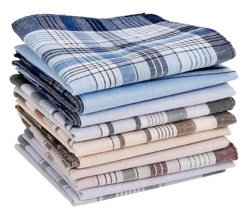 Square Multicolor Plaid Stripe Pocket For Chest Towel Handkerchiefs Scarves