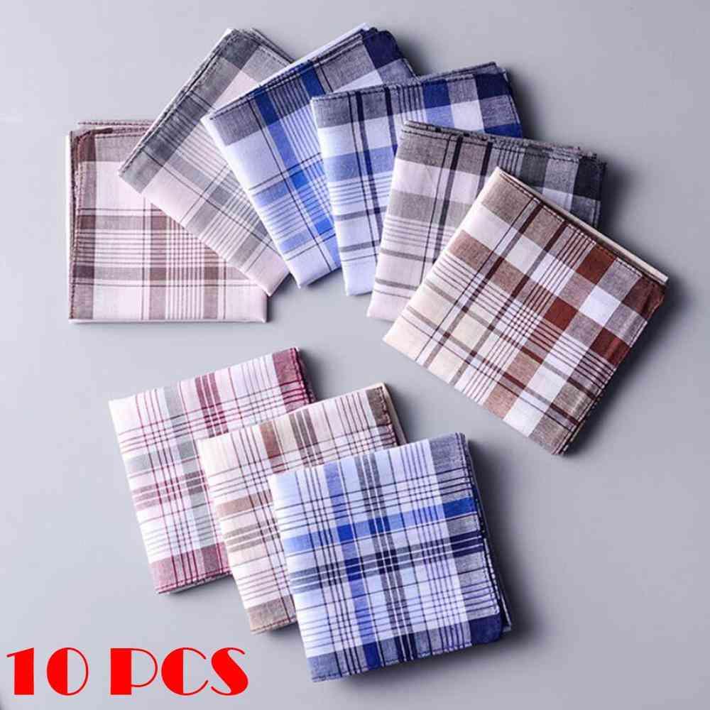 Men Plaid Handkerchiefs Cotton With Stripe Hankies Set Pocket Hanky Pocket Squares