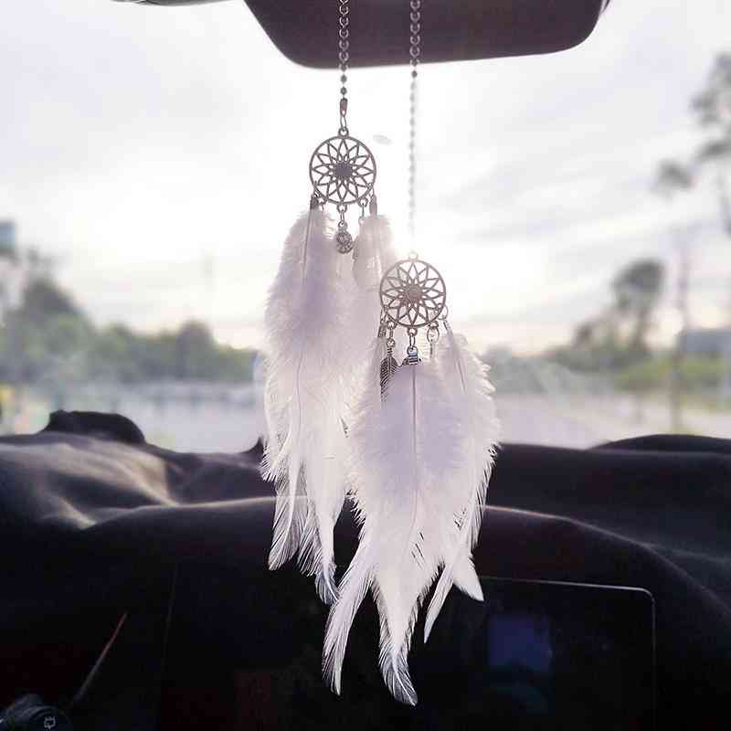 Car Dream Catcher With Feathers Handmade Wall Hanging Ornament