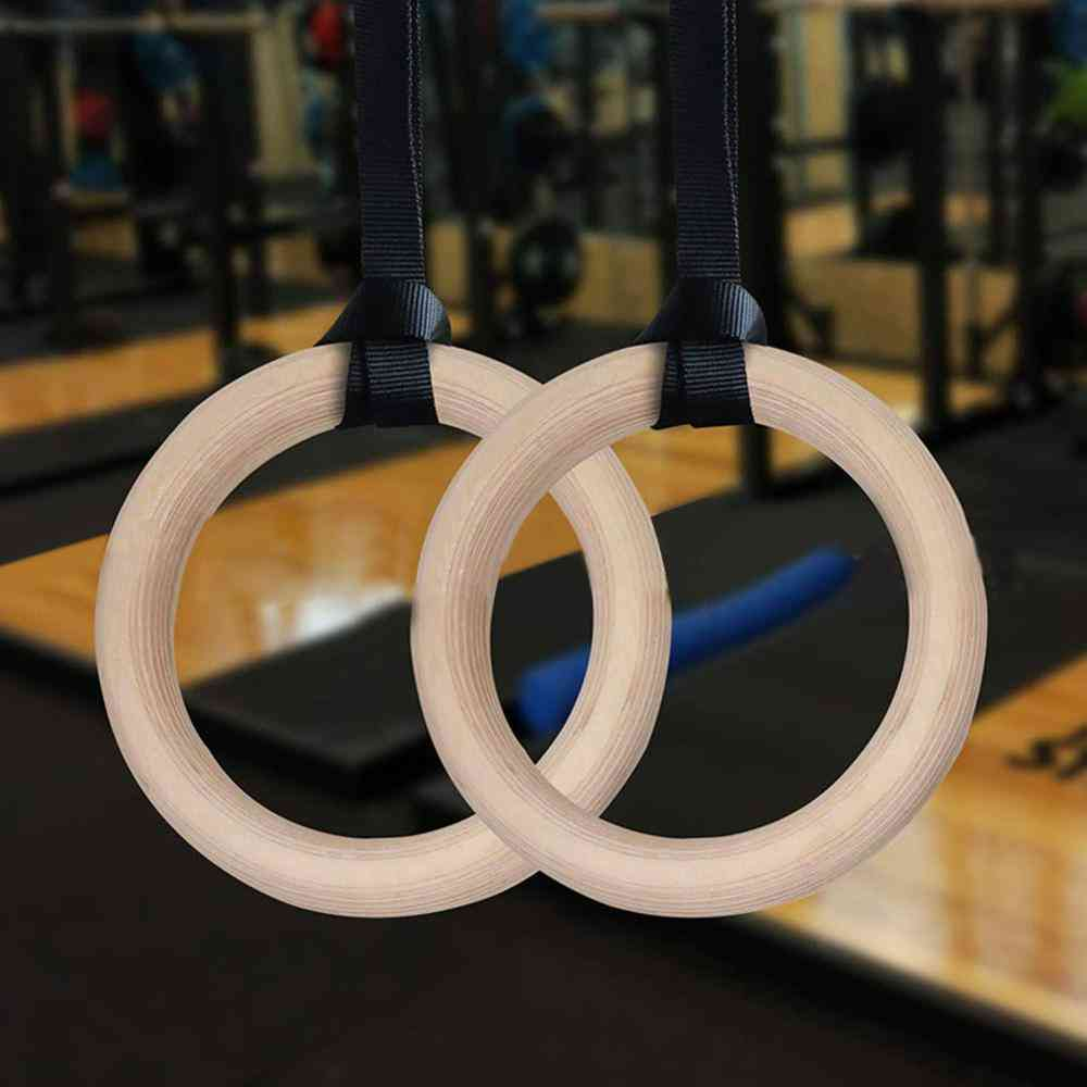 New Wooden Exercise Fitness Gymnastic Rings
