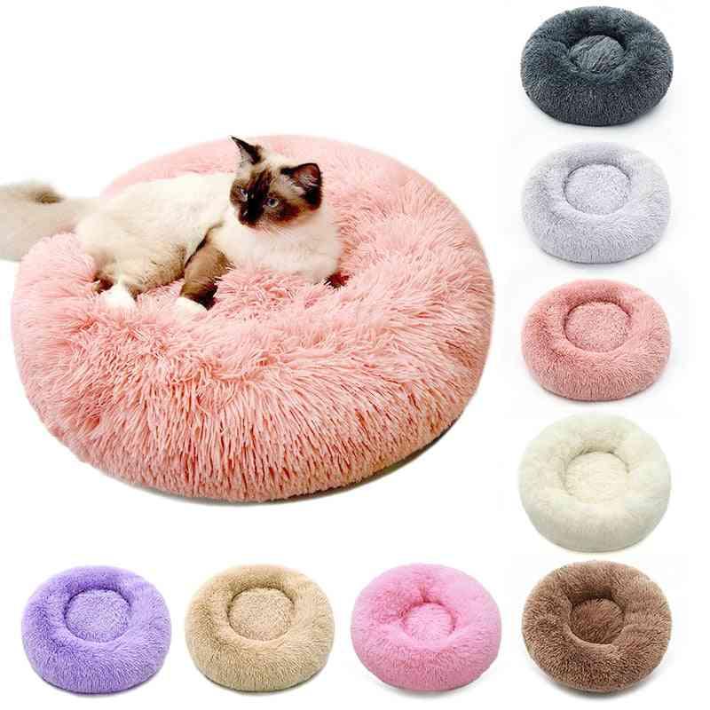 Soft Plush Fluffy Cushion Donut Round Pet Bed