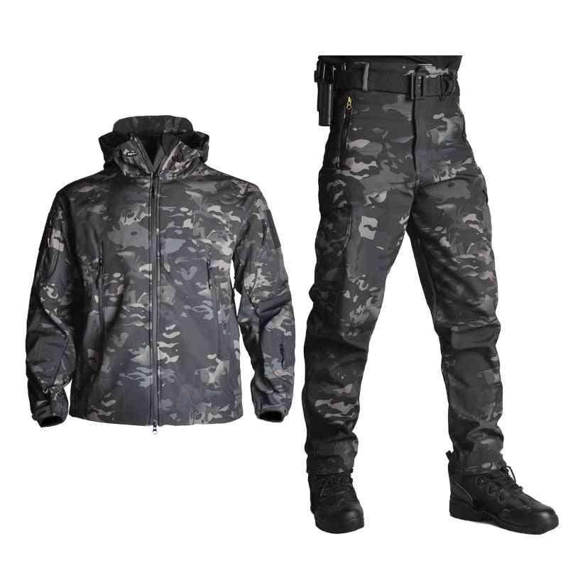 Men Fleece Jacket Army Windproof Tactical Jackets + Pants