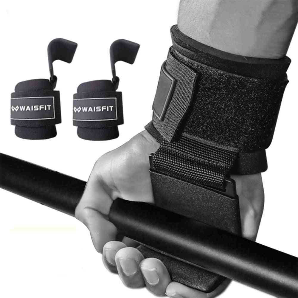 Gym Fitness Hook Strap Pull-ups Power Lifting Gloves For Weight Training