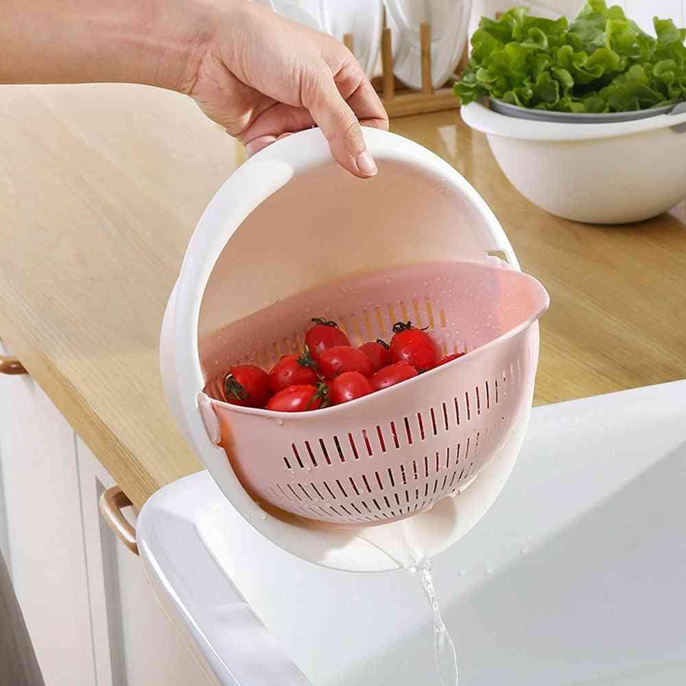 Kitchen Silicone Double Drain Basket Washing Bowls