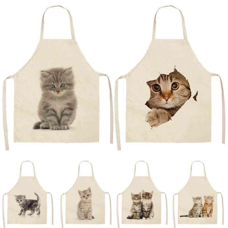 Lovely Cat Pattern Cotton Linen Apron