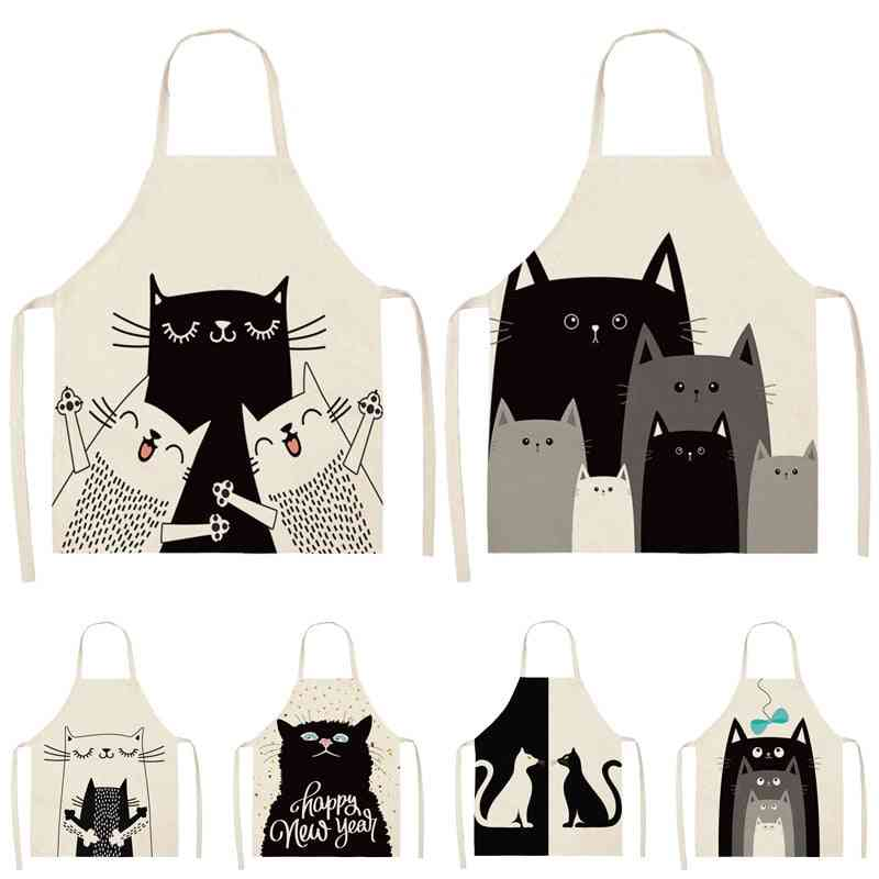 Black Cat Pattern Cleaning Colorful Aprons