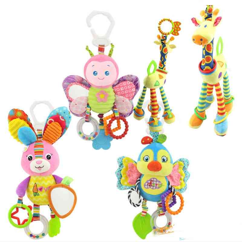Arrival Soft Giraffe Animal Rattles Plush Infant Baby Development Handle With Teether