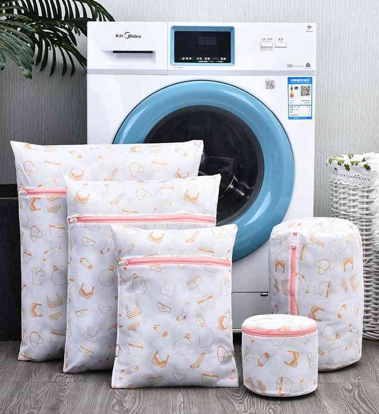 Exquisite Printed Laundry Bag Fine Mesh Underwear Washing Bags Travel Portable Clothing Bra Organizer Bag Laundry Basket