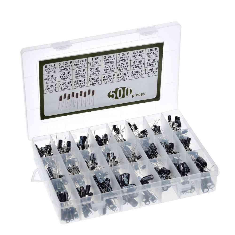500pcs/lot Diy 0.1uf-1000uf 24values Aluminum Electrolytic Capacitors 16-50v Mix Electrolytic Capacitor Assorted Kit Set Box