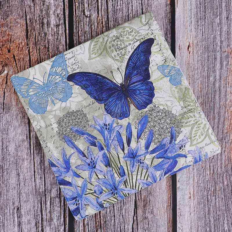 Flower Blue Butterfly Handkerchief