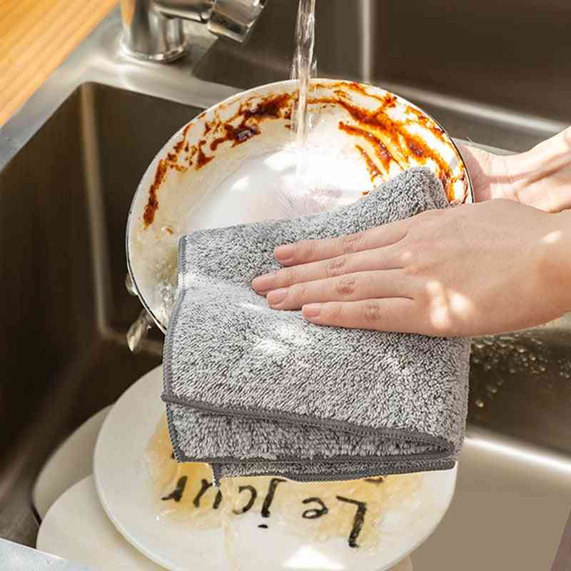Gray Kitchen Tool Anti-grease Wiping Rags Microfiber Cleaning Cloths