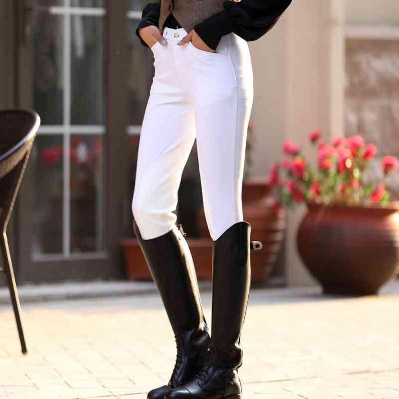 Women White Khaki Blue Horse Riding Elastic Trousers
