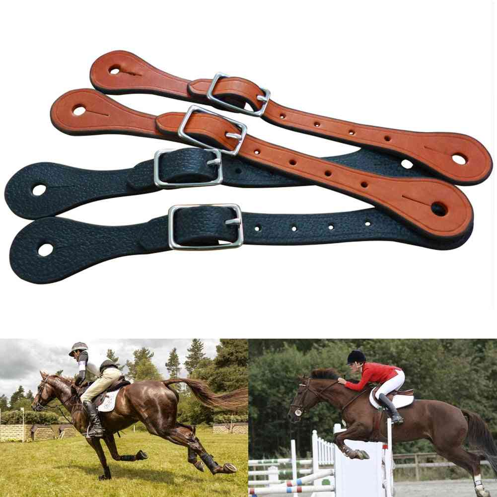 1pair Equestrian Equipment Sports Horse Riding Accessories Alloy Buckle Adjustable Western Thickened Faux Leather Spur Strap