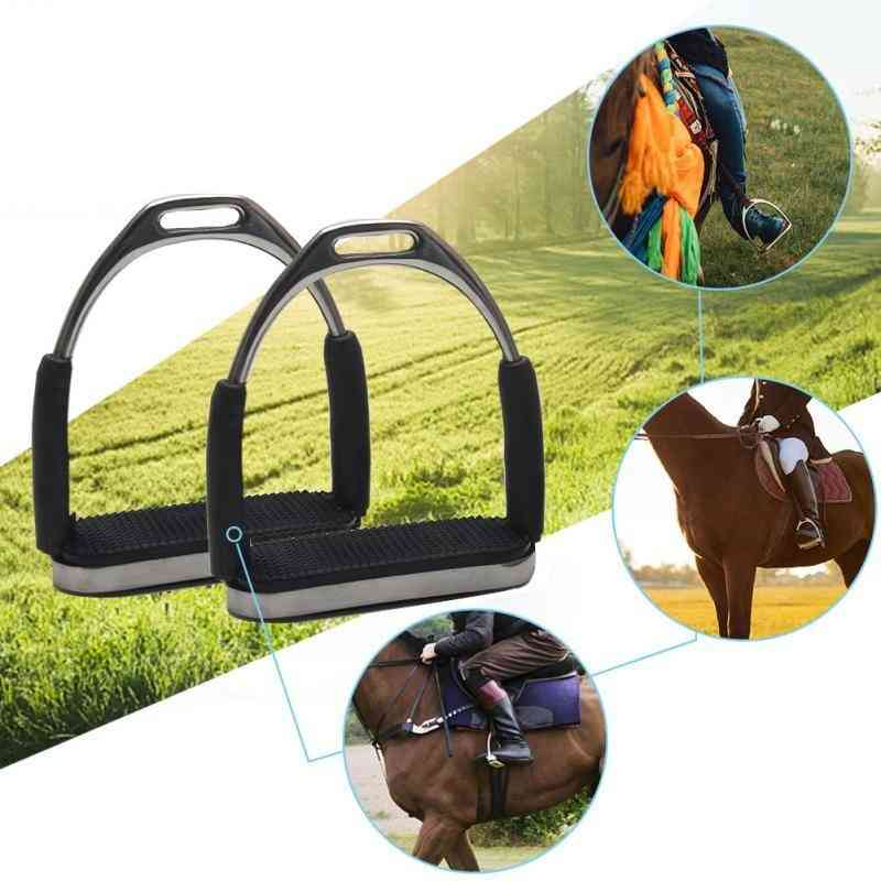 1pair Durable Sports Anti Slip Racing Horse Riding Stainless Steel Safety Outdoor Folding Stirrups