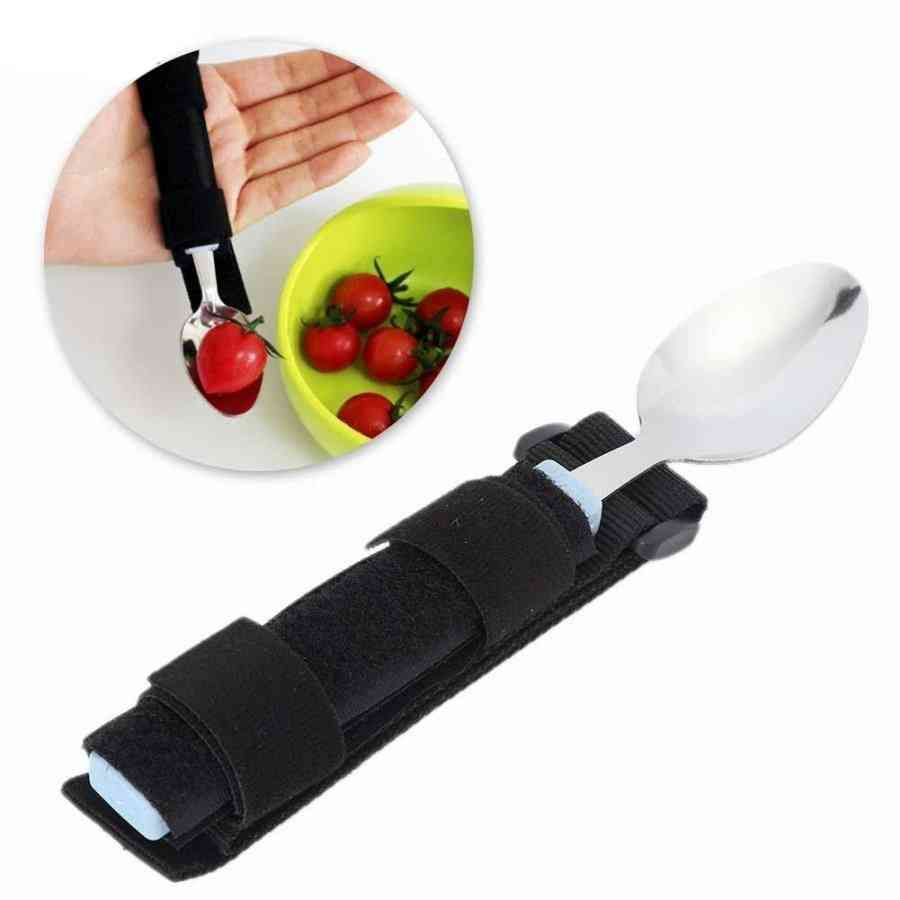 Dining Scoop Utensil With Auxiliary Strap For Elderly