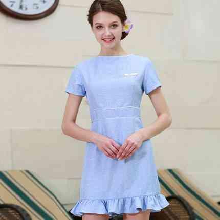 Beauty Work Uniform Short Sleeve Summer Spa Dress