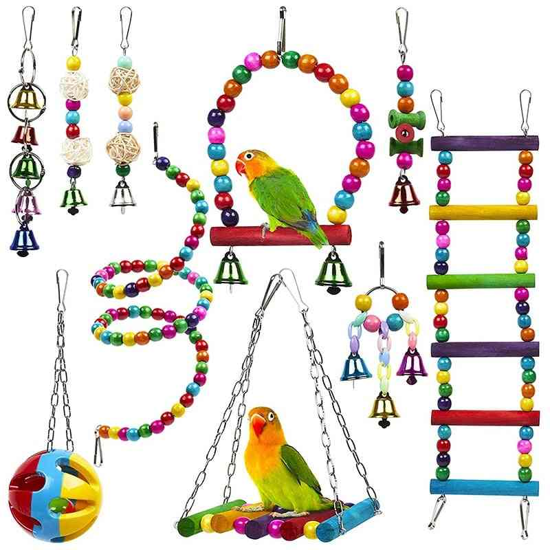 10 Pack Bird Cage For Parrots Reliable & Chewable - Swing Hanging Chewing Bite