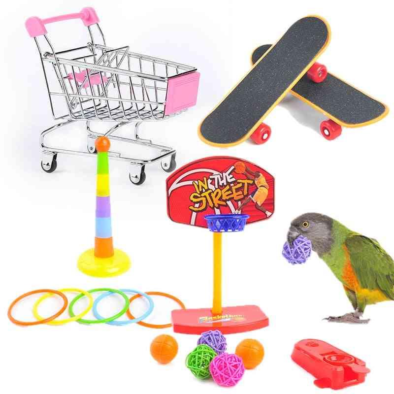 Interactive Parrot Equipment Set  Bird Activity Parrot Toy & Pet Basketball Skateboard