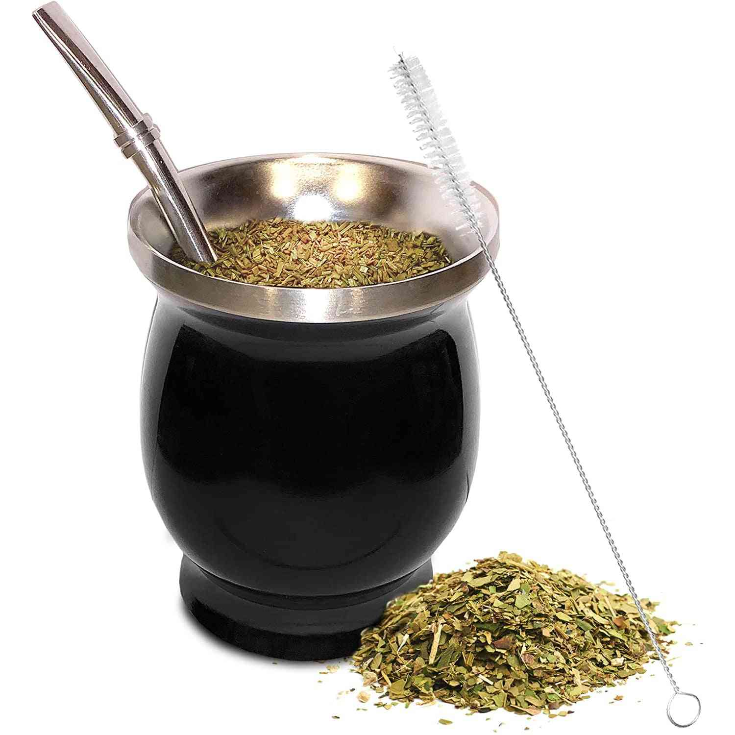 Natural Gourd/tea Cup Set 8 Ounces Bombillas Yerba Mate Straw, Cleaning Brush,