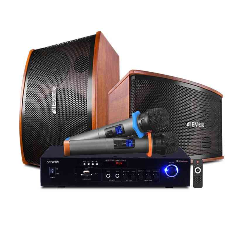 Family Ktv Speaker, Stereo Teater Home Karaoke Set, Tv Pa Amplifier System, Bluetooth/usb Singing +2 Wireless Mic Meeting, Room/shop