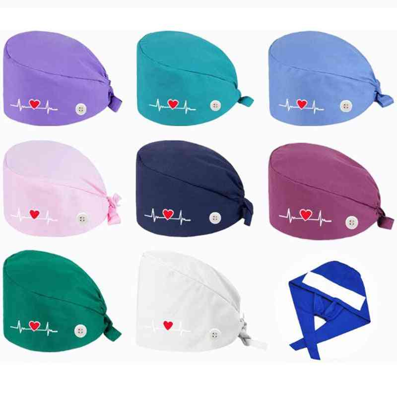 Unisex Scrubs Hats With Button