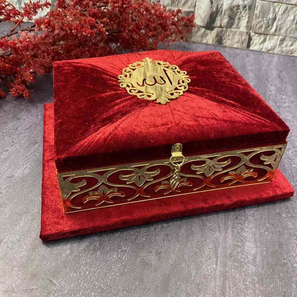 Holy Quran Prayer Book Velvet Covered Set With Mirror Tag