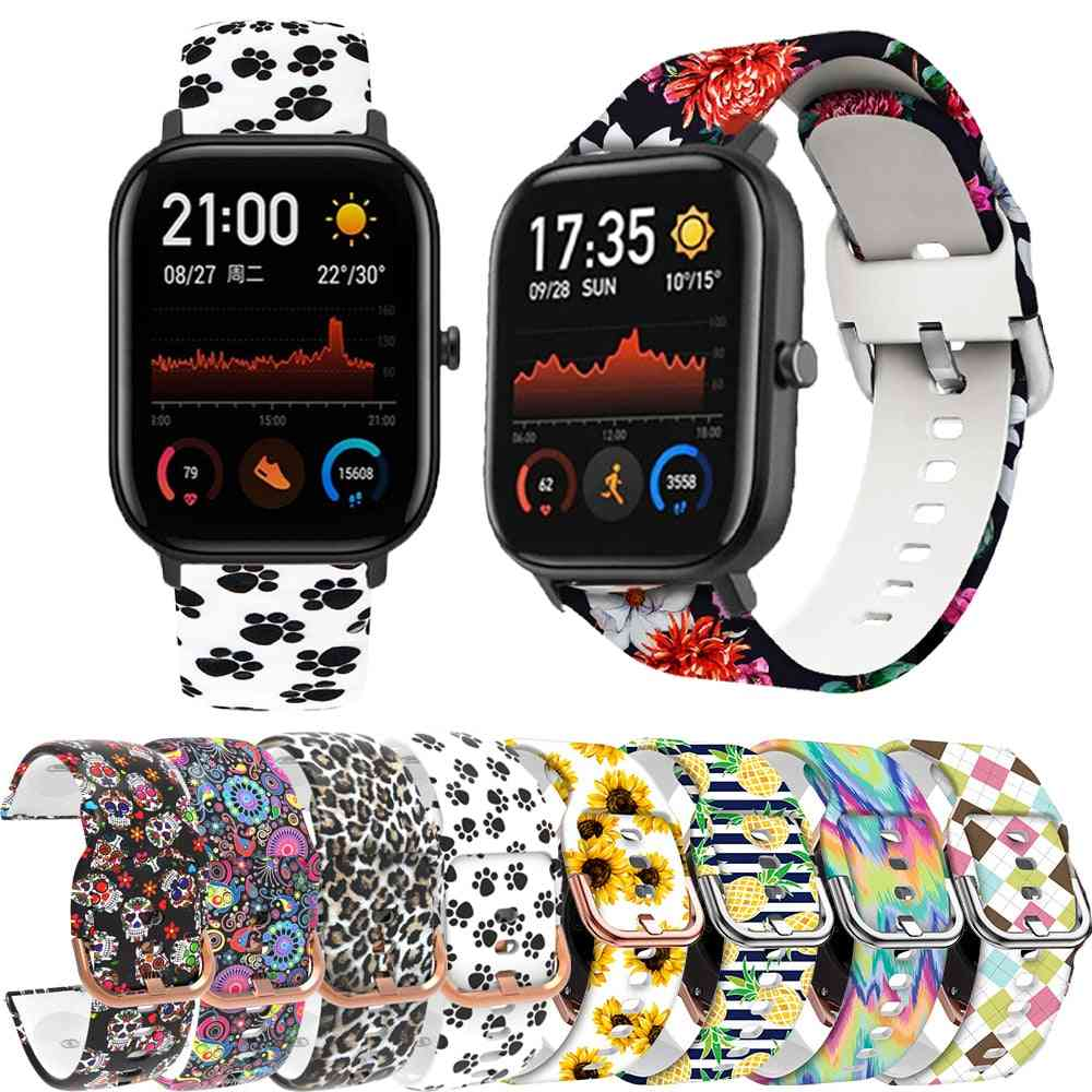 Sport Print Watch Band, Silicone Replacement Wristband Strap, Bracelet, Quick Release Accessories