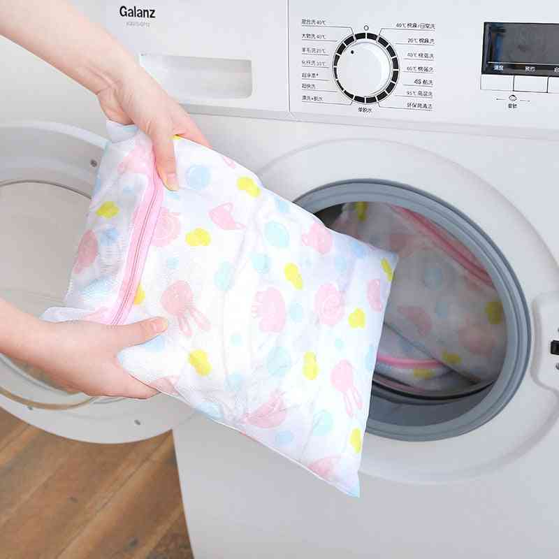 Foldable Nylon Laundry Bag, Bra Socks Washing Machine
