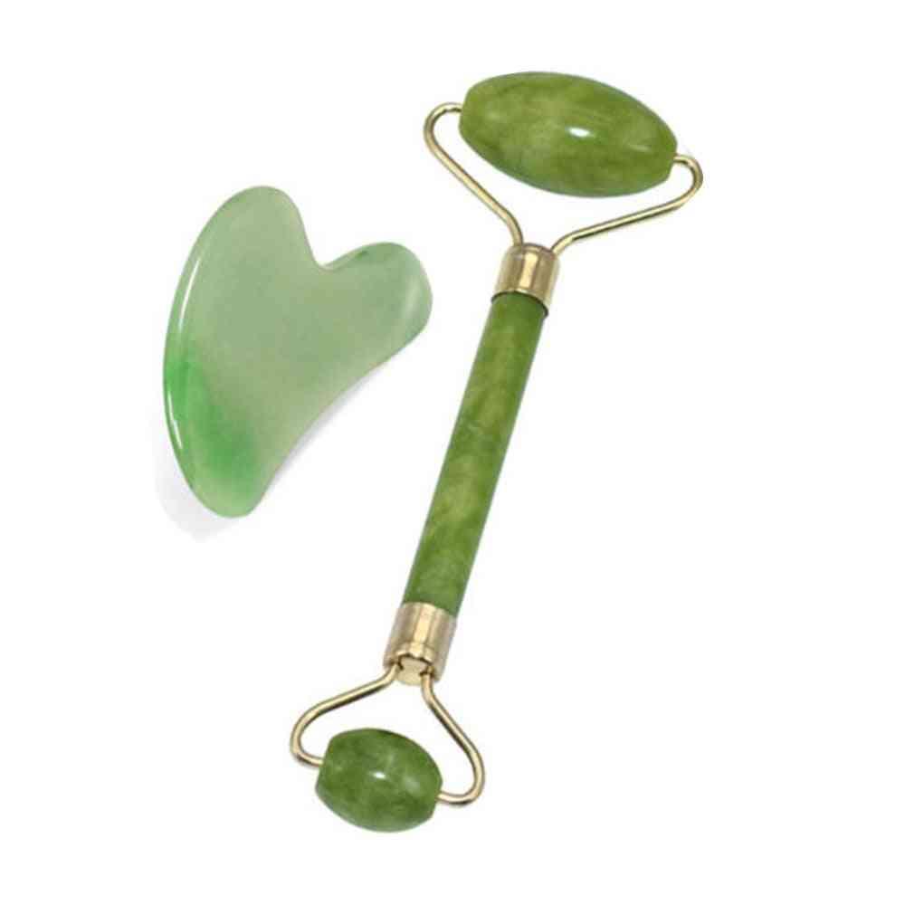 Green Roller Gua Sha Tools Natural Jade Roller Face Massager Scraper Skin
