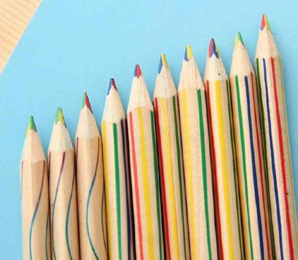 Color Pencil Four-color Lead Wooden Colored Pencil, Multi-color Pencil