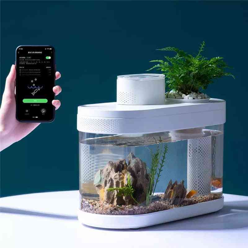 Geometry Fish Tank, Intelligent Control, Automatically Feed The Fish Regularly, Super Filtering System, Transparent Aquarium