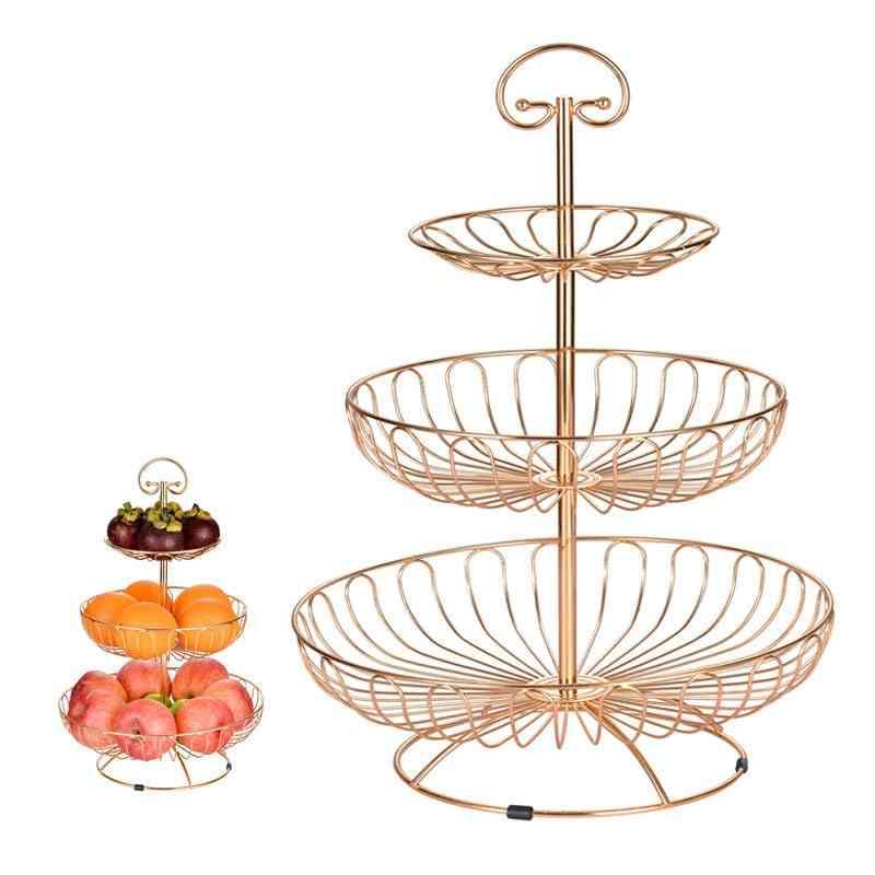 Iron Three Layer Storage Basket, Fruit Dish, Kitchen Home Bowl