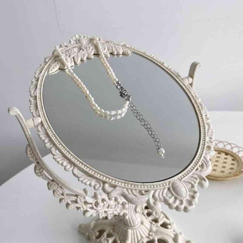 Vintage Decorative Small Round Mirror,  Standing Glass Mirror