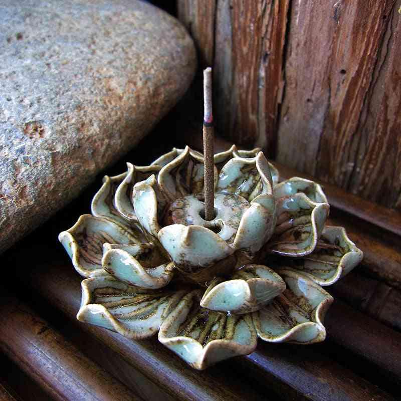 Ceramic Lotus Flower Shape Incense Burner Stick Cone Burner Holder