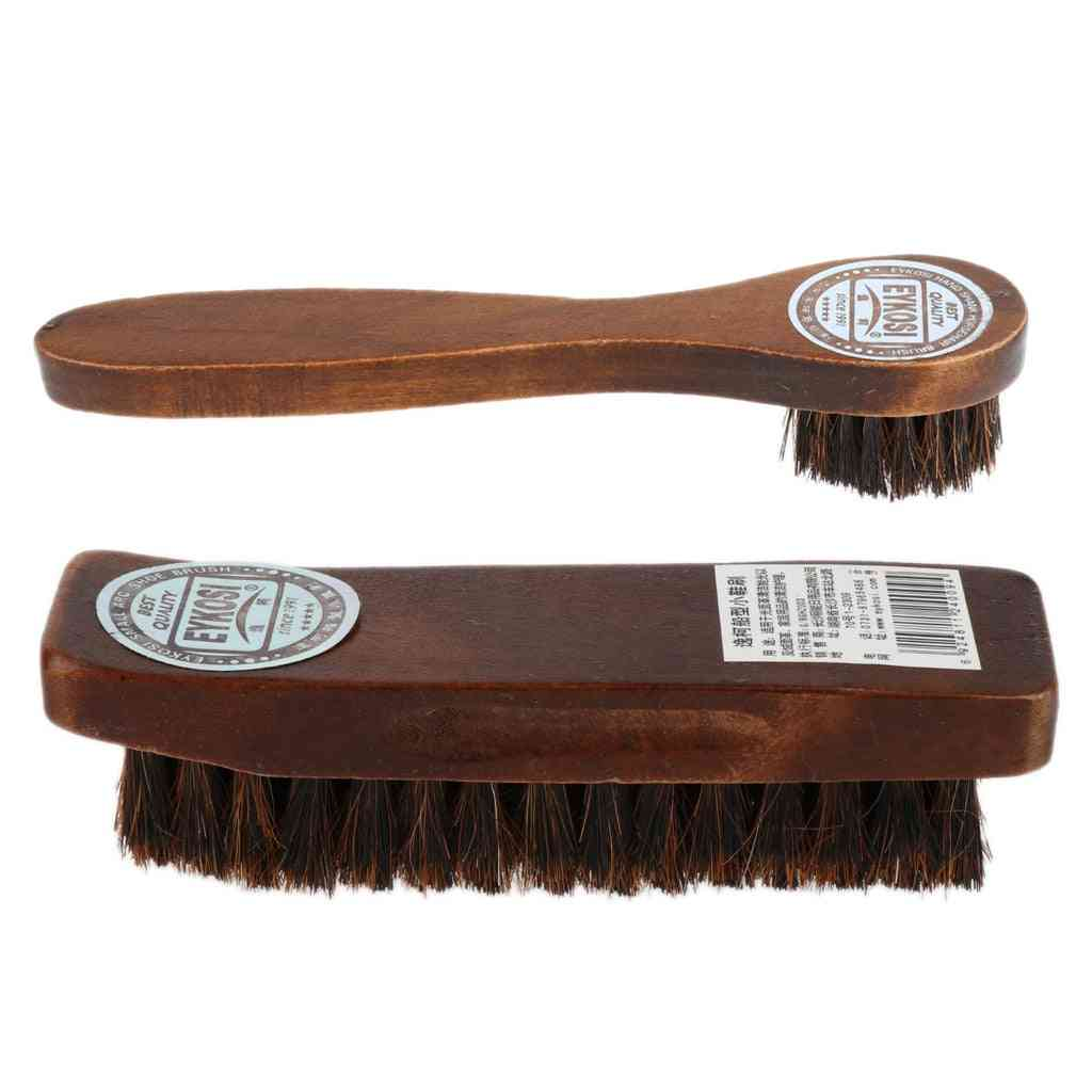 Long Wood Handle Horse Hair Shoe Boot Polish Shine Cleaning Brush