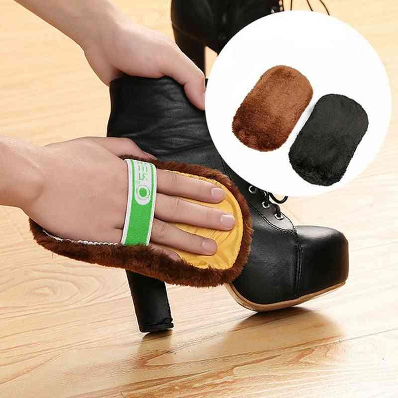 Shoe Care Brush, Cleaner, Soft Wool Plush Gloves