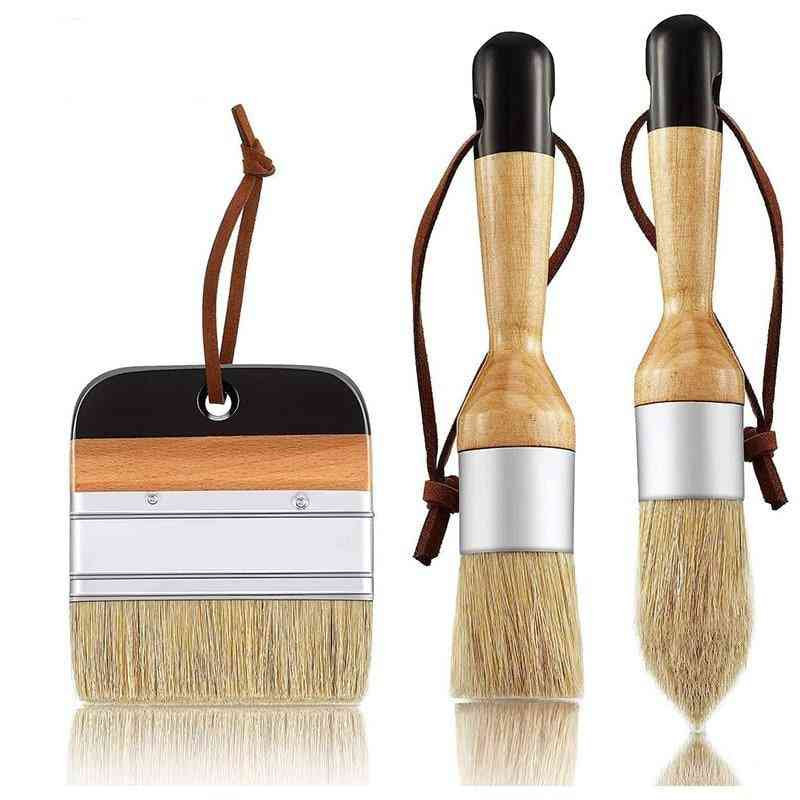 Pack Chalk And Wax Paint Brushes Bristle Stencil Brushes