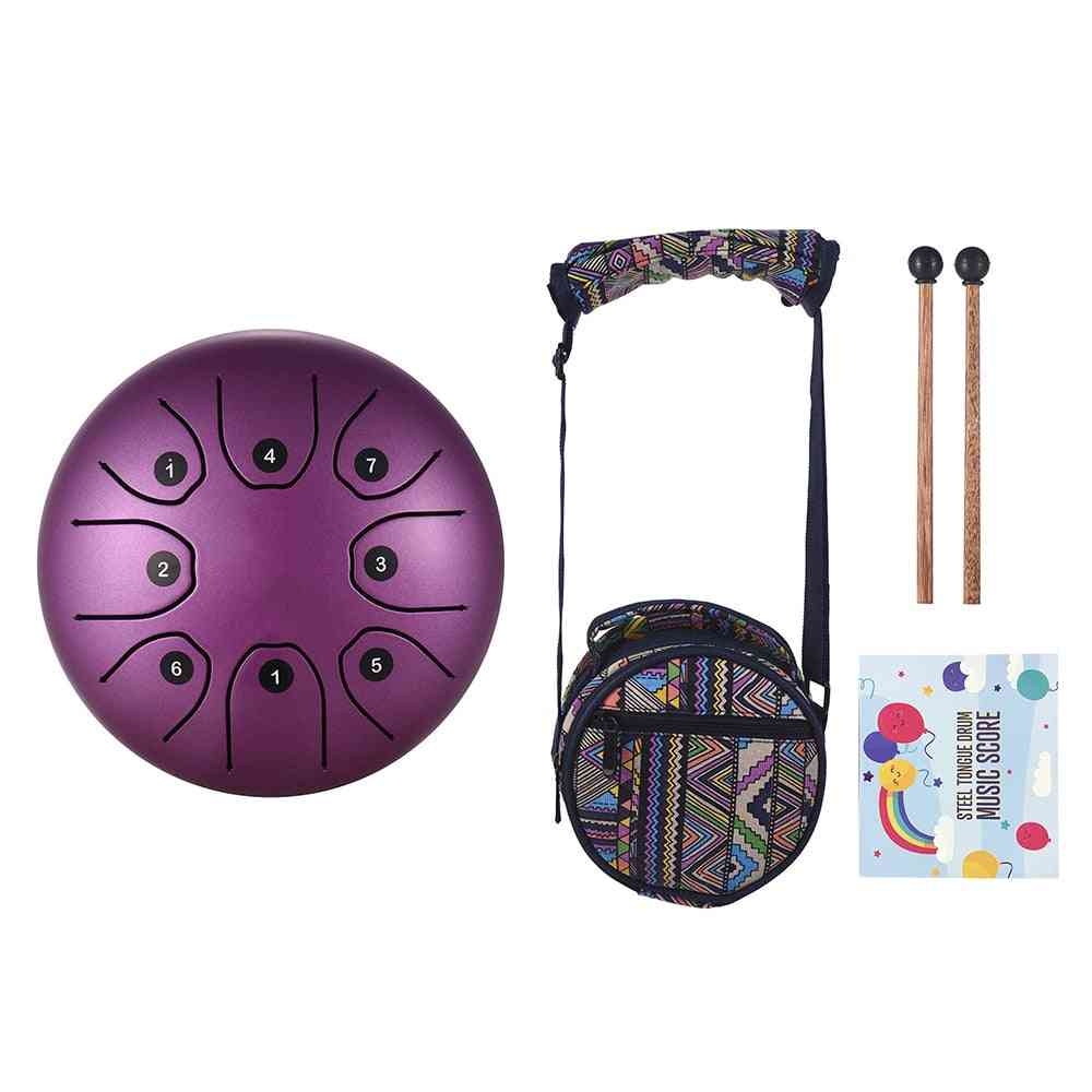 Tongue Drum Mini, Steel C Key With Mallets Percussion Instrument