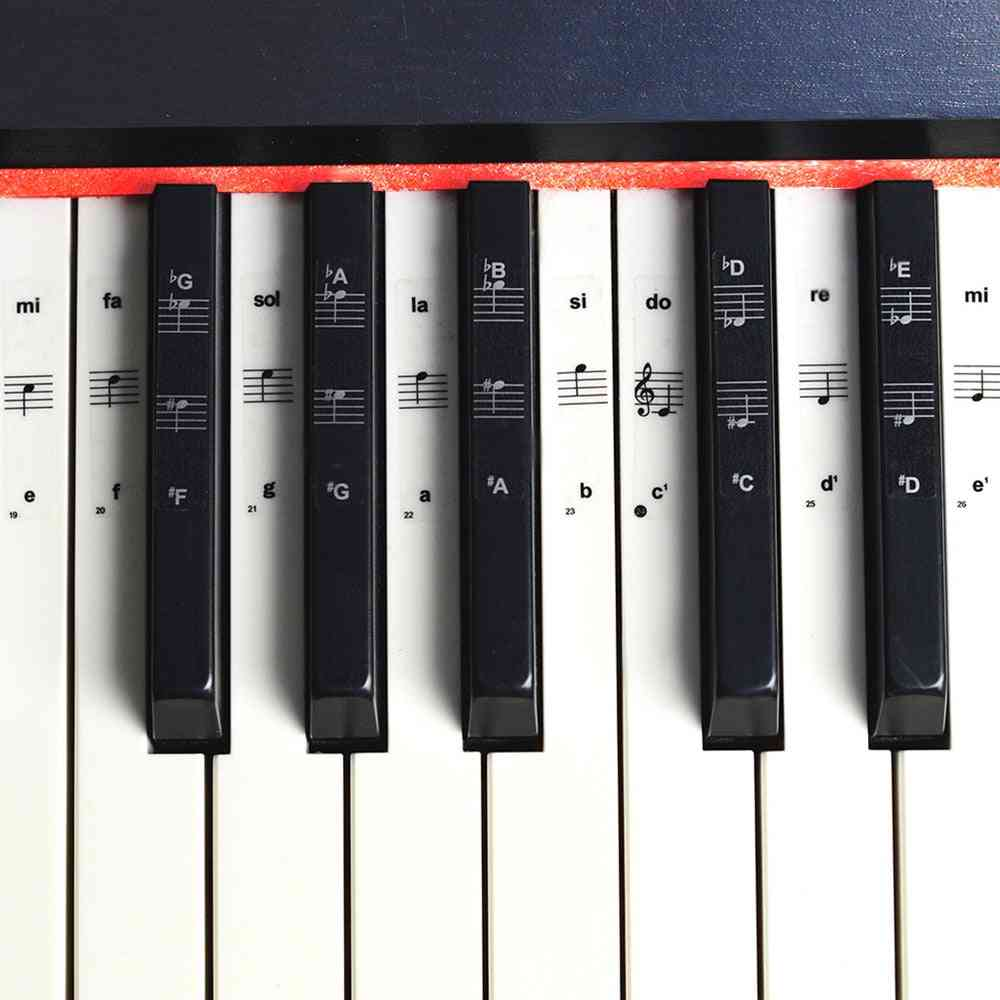 Key Piano Stickers, Transparent Pvc Sticker,  Stave Electronic Keyboard, Name Note Stick Accessories