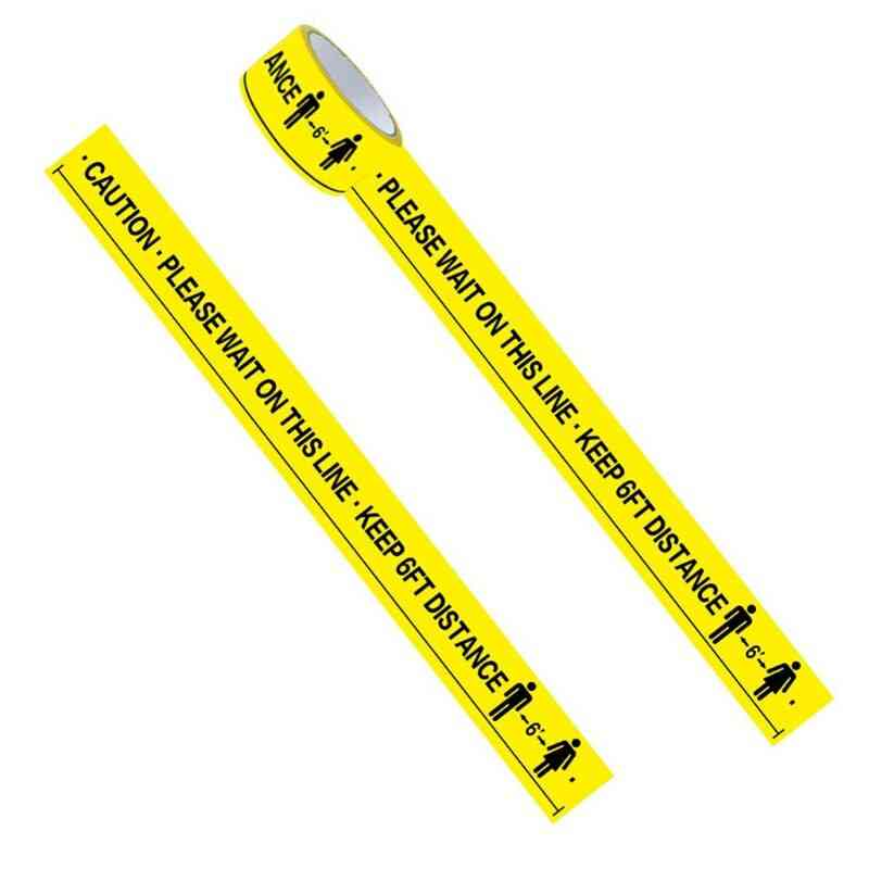 Please Wait On This Line Keep 6ft Distance Floor Marking Tape Yellow