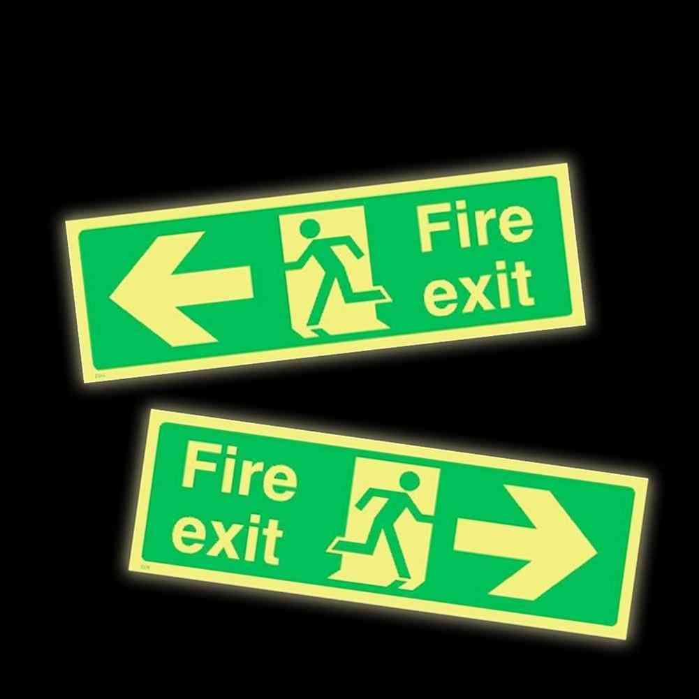 Photoluminescent Fire Exit Sign 300x100mm Plastic All Direction Arrows