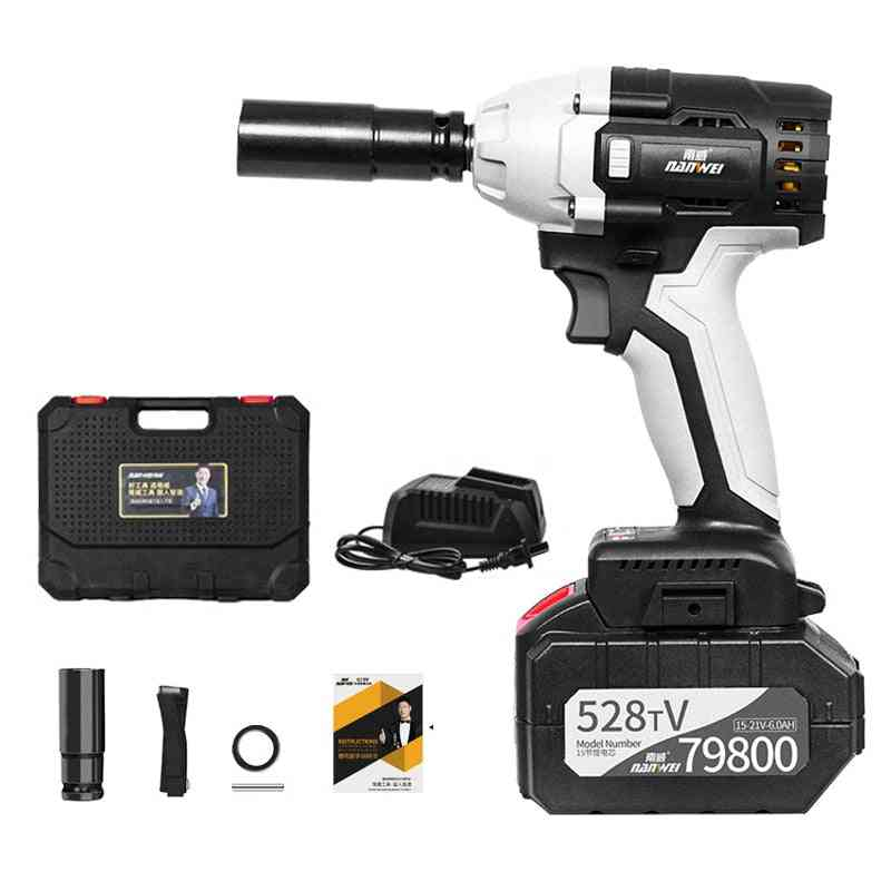 Cordless Electric Wrench, Brushless, Heavy Vehicle Repair, High Torque, Li-ion Batteries, Variable Speed Tool