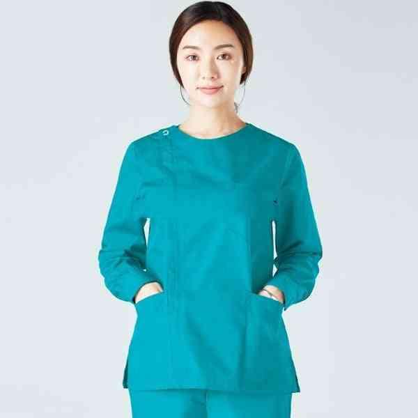 Women Scrub Top Long Sleeve Workwear Cotton Zipper Coat Big Pockets Nursing Uniform