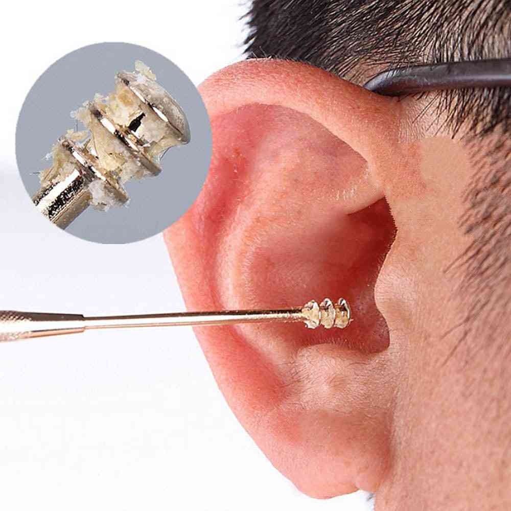 Double-ended Stainless Steel Spiral Ear Pick Spoon Wax Removal
