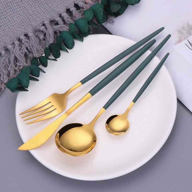 Flatware 18/10 Stainless Steel Cutlery Set Green Gold Dinnerware Spoon Fork Set Fruit Forks Kids Chopsticks