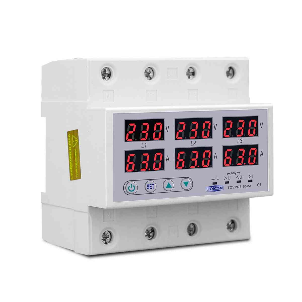 Din Rail Voltmeter Ammeter, Adjustable Over And Under Voltage, Current Limit Protection Monitor, Relays Protector