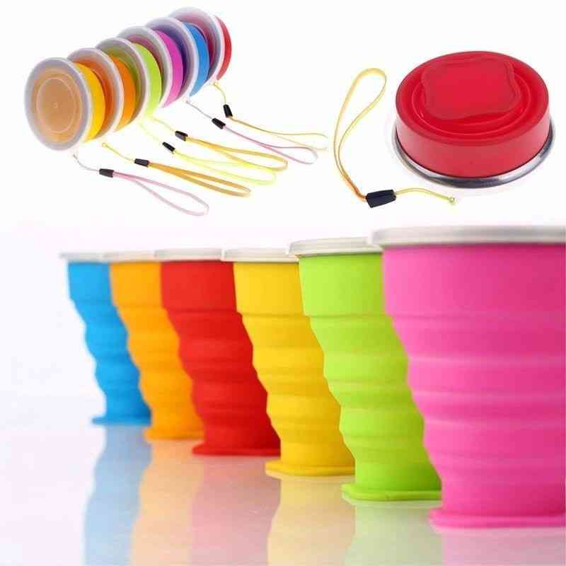 Portable Silicone Retractable Folding Cup With Lid