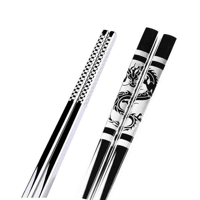 Stainless Steel Anti Skid Dragon Chopsticks